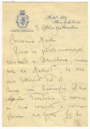 "Autograph letter signed, addressed ""Carissimo Maestro,"" most likely the distinguished conductor..."