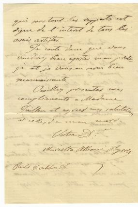 "Autograph letter signed ""Marietta Alboni Pepoli"" to an unidentified male correspondent, possibly Monsieur Guillen. Marietta ALBONI."