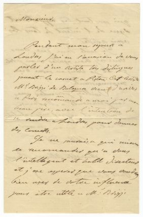 "Autograph letter signed ""Marietta Alboni Pepoli"" to an unidentified male correspondent, possibly Monsieur Guillen."