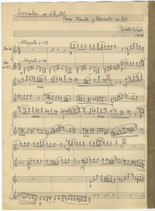 Sonata op. 68 No= 1 Para Flauta y Clarinete en Sib. Autograph musical manuscript signed and dated...