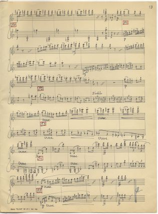 Sonata op. 68 No= 1 Para Flauta y Clarinete en Sib. Autograph musical manuscript signed and dated 1949. The complete work in score.