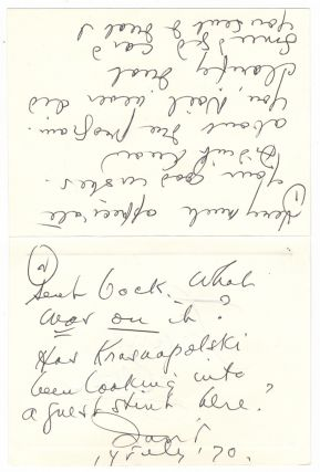 "Autograph note signed ""David"" addressed to Yuri Krasnapolsky, assistant conductor of the New York..."