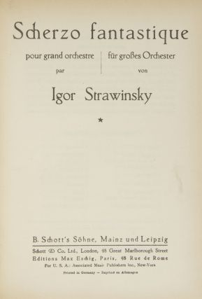 Volume of five works by Stravinsky, one inscribed to the conductor Alexander Smallens in Cyrillic, signed and dated in Stravinsky's hand, and with a short autograph musical quotation.