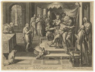 A group of 9 original engravings by Adriaen Collaert (ca. 1560-1618) after Jan van der Straet (Stradenus) (1523-1605) from the rare series Encomium Musices