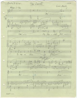 The Saints [The Shining Place]. Song for voice and piano. Autograph musical manuscript. Lee HOIBY