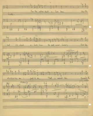 The Drowned Boy. Song for voice and piano. Autograph musical manuscript dated Philadelphia. Lee...