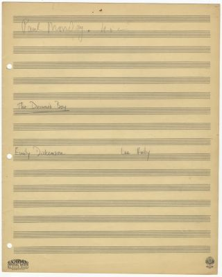 The Drowned Boy. Song for voice and piano. Autograph musical manuscript dated Philadelphia, April 14, 1952 at conclusion. Text by Emily Dickinson.