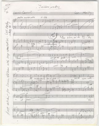 Jabberwocky. Song for voice and piano. Autograph musical manuscript variously dated January 4....
