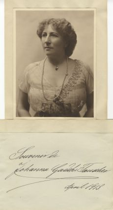 Fine bust-length Mishkin photograph of the noted German soprano. Together with autograph note on...