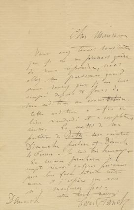 Autograph letter signed in full. To an unidentified male correspondent, possibly Alexandre...