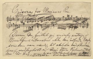 Cadenza for Marianne Riis. Autograph musical manuscript signed. Undated, but ca. 1880-1900....