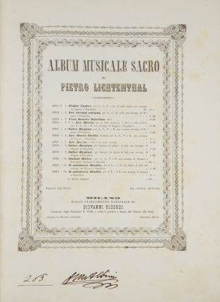 Album Musicale Sacro ... Fr. 24. [Piano-vocal score]. Peter LICHTENTHAL