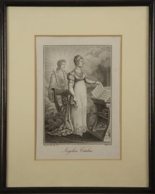 Fine full-length stipple engraving by Rados after Sergent Marceau of the popular early 19th century Italian soprano. Milan, ca. 1818.