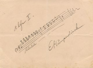 "Autograph musical quotation signed ""E. Humperdinck"" from the composer's opera Hänsel und Gretel...."