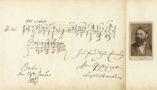 Large autograph musical quotation signed in full and dated Berlin, January 14, 1881. Joseph JOACHIM
