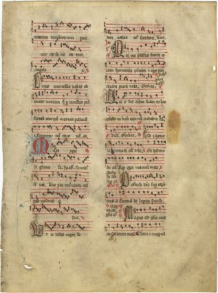 Antiphonal leaf from a Sanctorale containing chants for an unidentified martyr and All. MEDIEVAL...