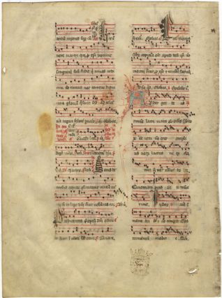 Antiphonal leaf from a Sanctorale containing chants for an unidentified martyr and All Saints' Day. Most probably of French provenance.