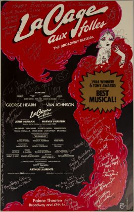 Poster for La Cage aux folles, signed by the cast and crew on. BROADWAY