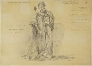 Fine original drawing in pencil of a costume design for the character of. Mauro PAGANO