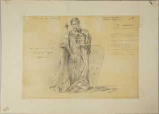 Fine original drawing in pencil of a costume design for the character of Tancredi in Rossini's eponymous opera. Executed for a production in Aix-en-Provence in 1981