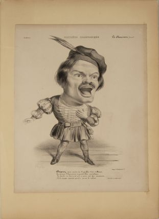 Large role portrait lithographic caricature of Duprez as Arnold in Rossini's Guillaume Tell....
