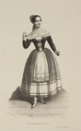 Role portrait as Angèle in Auber's Le domino noir. Lithograph by Alexandre Lacauchie. Laure...