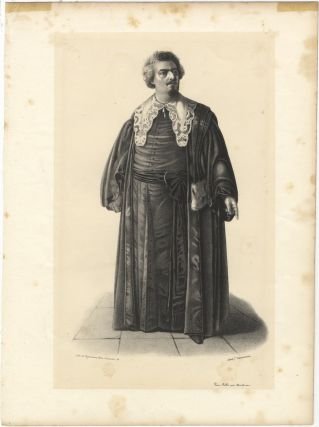 Role portrait as Elmiro in Rossini's Otello. Lithograph by Alexandre Lacauchie. Luigi LABLACHE
