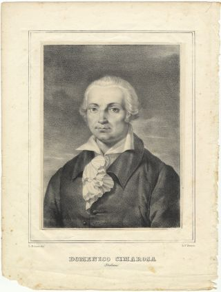Portrait lithograph by Antonio Zezon after L. Deluise. Domenico CIMAROSA
