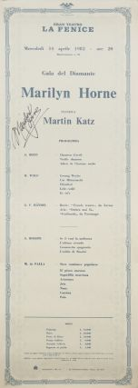 Large broadside for a recital by Marilyn Horne at La Fenice in Venice. Marilyn b. 1934 HORNE