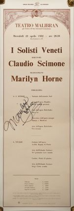 Large broadside for a concert featuring Marilyn Horne at the Teatro Malibran in Venice, April 21,...