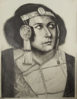 Original charcoal drawing of Rethberg as Helena in Strauss's Die ägyptische Helena. Elisabeth...