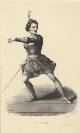 Role portrait as Arnold from Rossini's Guillaume Tell. Lithograph by Alexandre Lacauchie. Gilbert...