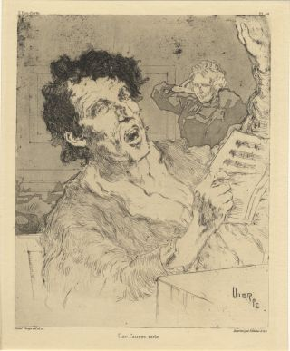 """Une fausse note."" Etching and aquatint engraving. Daniel VIERGE"