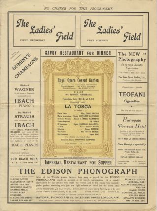 Program for Tosca, Royal Opera Covent Garden, London, July 23, 1912. Giacomo PUCCINI