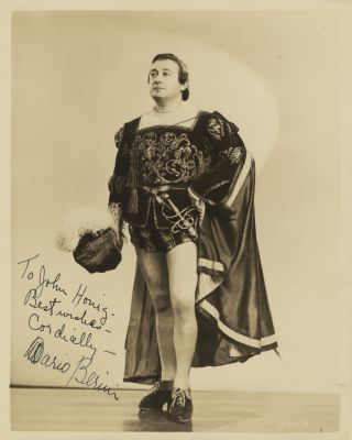 Role portrait photograph with autograph signature of the American tenor as Faust. Mario BERINI