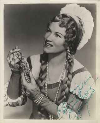 Role portrait photograph with autograph signature of the American soprano. Dorothy KIRSTEN