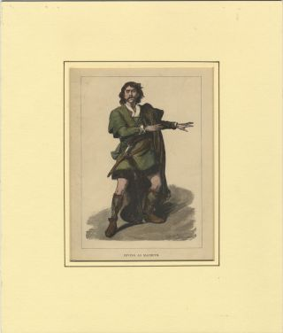 Role portrait as Macbeth. Hand-coloured engraving by Moritz Klinkicht after V.W. Bromley. Henry...