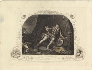 Role portrait as Richard III. Colored engraving by E.J. Portbury after William Hogarth. David...