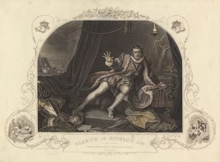 Role portrait as Richard III. Colored engraving by E.J. Portbury after William Hogarth.