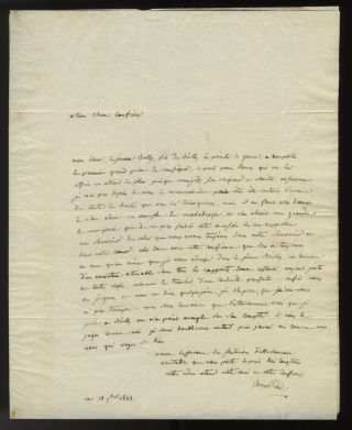 "Autograph letter signed ""Boieldieu"" to Pierre-Narcisse Guérin in Rome, September 18, 1823...."
