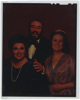 Photographic colour interpositive with Luciano Pavarotti and Joan Sutherland, ca. 1975. Marilyn...