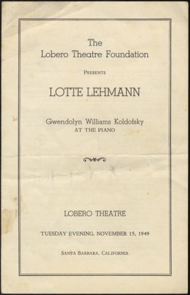 Program for a recital of songs by Brahms, Debussy, Schumann, and Richard Strauss. Lotte LEHMANN