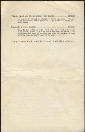 Program for a recital of songs by Brahms, Debussy, Schumann, and Richard Strauss at the Loberto Theatre, Santa Barbara, November 15, 1949, with Gwendolyn Williams Koldofsky at the piano.
