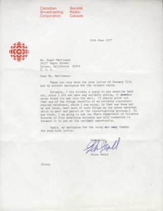 Typed letter signed in full. To Roger Martinson at the Canadian Broadcasting Corporation. Glenn...