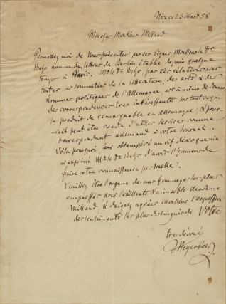 "Autograph letter signed ""Meyerbeer' to German publisher Moïse Millaud (1813-1871). Giacomo..."