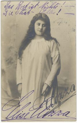 Role portrait postcard photograph of the Austrian soprano, with autograph signature. Elise ELIZZA