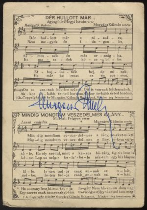 Two postcards with printed music, both with autograph signature