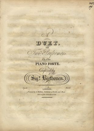 Op. 6]. [Sonata in D major for piano 4 hands]. Ludwig van BEETHOVEN