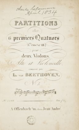 Op. 18, No. 5]. Partitions des 6 premiers Quartuors [Score]. Ludwig van BEETHOVEN