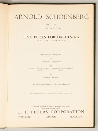 Op. 16]. Five Pieces for Orchestra [Study score]. Arnold SCHOENBERG